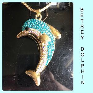 Blue Rhinestone Dolphin Sweater Necklace NWT